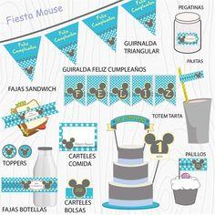 Imprimible Mouse azul  #Fiesta #cumpleaños #printables #niños #etiquetas #plantillas #niños Mickey Mouse, Map, Garlands, Happy Birthday, Stencils, Printables, Tags, Blue, Party