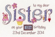 Sister Cross Stitch Kit £18.95 | Past Impressions | Nia