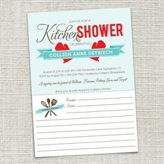 bridal shower invitation with recipe card