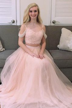 62979318ee6 Princess Two Piece Pink Tulle Long Prom Dress Evening Dress PG570