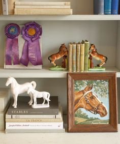 """Collecting along a horse theme makes for a blue-ribbon proposition: You can acquire a whole stable of foals and fillies without incurring the expense of oats, acreage, and tack. """"Once you start looking, you'll find this fun, funky, and elegant equestrian merchandise everywhere,"""" says Dexter Grass, a Texas dealer who maintains a shop on rubylane.com called the Old Grey Mare. Ohio collector Rebecca Smith adds, """"Good, inexpensive entry items include paint-by-number art, bookends, and…"""