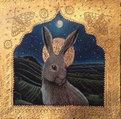 'High above the Valley' hare. Pencil, acrylic and 24ct gold. Hannah Willow. Www.hannahwillow.com www.facebook.com/Hannah.willow.artist #hare #art #illustration #hannahwillow