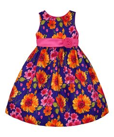 Take a look at this American Princess Navy & Orange Sunflower A-Line Dress - Girls today!