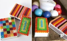 Hama beads on matchboxes. Great to make with the kids.