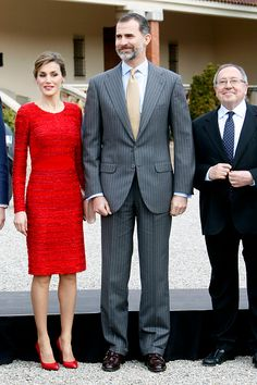 LR Queen Letizia of Spain and King Felipe VI of Spain pose during their visit to Freixenet Cellars as a part of the event company's centenary...