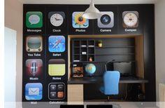 Cool techy-kids room wall