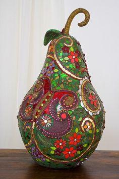 This looks like a Faberge egg......so beautiful. mosaic fruit, pear shaped.