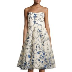 Mikael Aghal Floral-Embroidered Strapless Dress (€330) ❤ liked on Polyvore featuring dresses, royal flor, strapless a line dress, white sweetheart neckline dress, strapless dresses, straight dress and sweetheart neckline dress