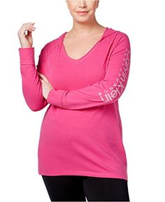 364c5ffa0e3 Calvin Klein Inc Calvin Klein Women s Plus Size Hooded Top Pink 3X Plus Size  Tops