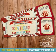 Printable Vintage Circus or Carnival Birthday Ticket Invitation | Kids Birthday Party Ideas | First Birthday | FREE Thank You Card Included | Matching Party Package Available! Banner | Cupcake Toppers | Favor Tag | Food and Drink Labels | Signs |  Candy Bar Wrapper | www.dazzleexpressions.com