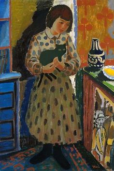 Girl with Cat - Johs Rian, 1932