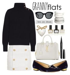 """""""Granny Flats"""" by alaria ❤ liked on Polyvore featuring Balmain, Charlotte Olympia, Chloé, Yves Saint Laurent, Linda Farrow, Marc Jacobs, women's clothing, women's fashion, women and female"""