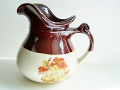 SALE Vintage McCoy Pitcher, Harvest Fruit, Fall Fruit, McCoy Fruit Festival Water Pitcher Home Decor, Ceramic Pottery by WitsEndDesign on Etsy https://www.etsy.com/listing/164226945/sale-vintage-mccoy-pitcher-harvest-fruit