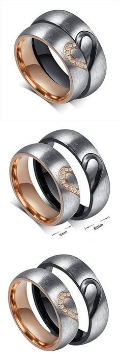 ROWAG 6MM Men Heart Shape Titanium Stainless Steel Couple Wedding Rings for Him and Her Women Cubic Zirconia CZ Inlaid Promise Engagement Bands #promiseringsformen #menweddingrings #promiseringsforher #weddingbandsforwomen