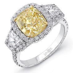 FANCY YELLOW DIAMOND THREE-STONE RING DESIGNED BY UNEEK