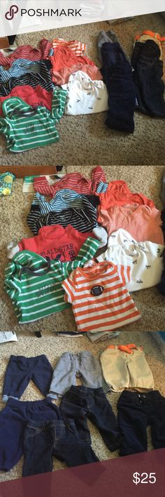 A bundle of boys 3 month clothes 7 pair of pants, 5 long sleeve onesies, and 4 short sleeve onesies. The pants are 2 soft Jean looking, 1 khaki with orange belt, 3 comfy pants, and 1 pair of dark blue corduroys. Carters Other