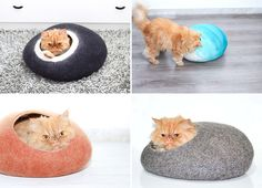 11 Cat Caves That Prove Cat Beds Can Be Stylish // These cat caves have openings just big enough to let the cat in and offer a nice a lookout when they tire of sleeping.