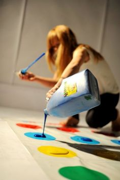 paint twister!! This would be fun for a white theme game night!!