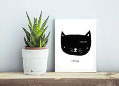 Cat print Scandinavian print Meow Wall decor Kids by DesignByMaya