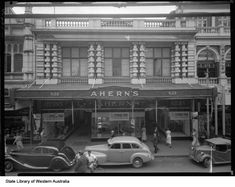 """Aherns Building in Perth,Western Australia in Chambers on the right with the """"Marelle Cafe"""" on the first floor. Perth Western Australia, Australia Travel, Scarborough Beach, London Life, Victoria Australia, Capital City, Wild West, Abandoned Places, Historical Photos"""