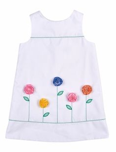 Florence Eiseman Girls White Pique Shift Dress - Colorful Flowers