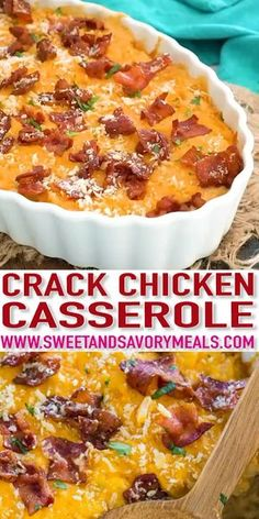 Cheesy Crack Chicken Casserole is the perfect dish to feed a large crowd. Deliciously cheesy and loaded with tender chicken and topped with crispy bacon. recipes casserole Cheesy Crack Chicken Casserole [Video] - Sweet and Savory Meals Crock Pot Recipes, Easy Casserole Recipes, Cooking Recipes, Keto Recipes, Recipes Dinner, Potato Recipes, Pizza Recipes, Tater Tot Recipes, Diner Recipes