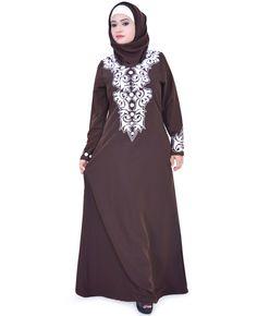 Eid Elegant Embroidered Abaya Jilbab Islamic Clothing Muslim Dress Hijab ZA116 #ZetZone #Maxi #Casual