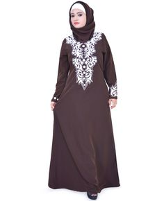 Eid Elegant Embroidered Abaya Jilbab Islamic Clothing Muslim Dress Hijab ZA116 #ZetZone #Maxi #Casual