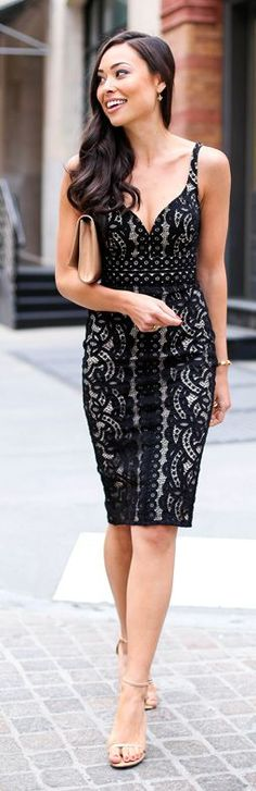 Black Lace Dress Cocktail Style by With Love From Kat
