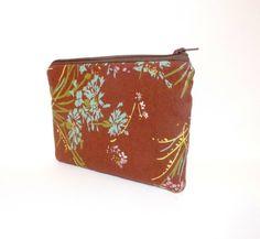 Zipper Pouch Cotton Pouch Brown Floral by handjstarcreations, $9.50