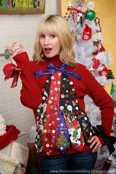 Ugly Tie Christmas Tree Sweater - 13 DIY Ugly Christmas Sweaters | Perfect Ugly & Funny Handmade Costumes by Pioneer Settler at http://pioneersettler.com/diy-ugly-christmas-sweaters/