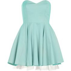 Dorothy Perkins Mint strapless party dress ($17) ❤ liked on Polyvore featuring dresses, vestidos, short dresses, robes, green, cotton dress, green dress, mint green cocktail dress, short strapless dresses and short green dress