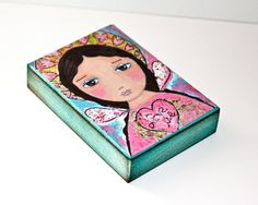 Love Me  Angel  Aceo Giclee print mounted on Wood por FlorLarios, $10.00