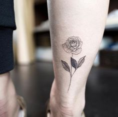 Blackwork back ankle rose tattoo by Hongam