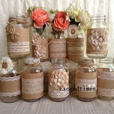 Rustic Burlap and Lace Covered Mason Jar Vases Wedding Decor, Bridal Shower, Engagement, Anniversary Party Decor Mason Jar Vases, Mason Jar Crafts, Burlap Mason Jars, Wedding Mason Jars, Pot Mason, Crafts With Jars, Lace Jars, Mason Jar Favors, Bottles And Jars