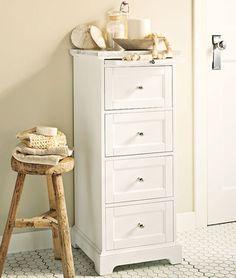 traditional bathroom storage by Pottery Barn Grey Bathroom Paint, Diy Bathroom Vanity, Barn Bathroom, Bathroom Ideas, Bathroom Marble, Master Bathroom, Bath Storage, Small Bathroom Storage, Cabinet Storage