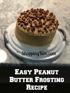 Chocolate Cake with Peanut Butter Frosting and cut up Reese's candy bars for decoration.