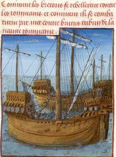Medieval Town, Medieval Art, Renaissance Art, Medieval Manuscript, Illuminated Manuscript, Bourges France, Friedrich Ii, Ship Figurehead, Medieval Paintings