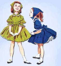 1950s Vintage Helen Lee Girls Dress 1958 McCalls Sewing Pattern 4465 Size 6 24B #McCallsPattern #HelenLeeDressPattern