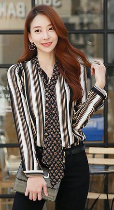 StyleOnme_Star Patterned Neck Tie Scarf Pinstripe Blouse #pinstripe #blouse #fallfashion #chic #trendy #koreanfashion #kstyle #seoul