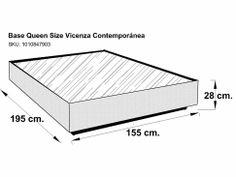 6 base para cama king size contempor nea tabaco miletto for Cama queen dimensiones