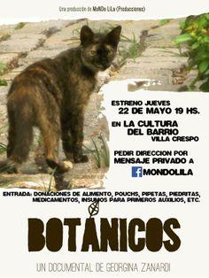 ¡Exclusivo! Te invitamos al estreno del documental de Georgina Zanardi acerca de los gatos del Botánico. Este jueves, ¡toda la info en la imagen! Animate a descubrir la vida de nuestros gatos.  Gracias Georgina por el documental y por tu labor como voluntaria.