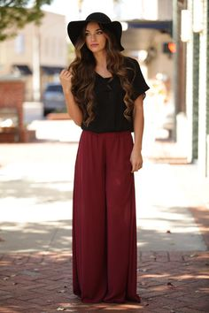 Having a pair of palazzo pants in your closet is essential to the Fall season! Check out our burgundy Stuck On You Palazzo Pants before they're gone!