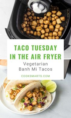 The Best Banh Mi Tacos Recipe for the Air Fryer   Once you pair yummy banh mi flavors with savory tacos, this air fried dish will secure a permanent place with your Taco Tuesday recipes. Let the joy of Asian fusion tacos commence with this tasty tofu banh mi recipe!   CookSmarts.com Vegetarian Recipes Easy, Healthy Dinner Recipes, Breakfast Recipes, Asian Recipes, Mi Recipe, Healthy Cooking, Cooking Recipes, Air Fried Food, Cook Smarts