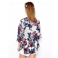 Miss Europe 2016 New Fashion Simple Printed Cardigan Jacket Kimono Jacket womens summer clothes Cotton flower jacket