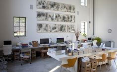 The owners spent about four years building 1,000 feet of stone walls and renovating the large, light-filled studio, shown here. 'The integration of home and studio in a single large structure is really unique,' Mr. Drenttel says.