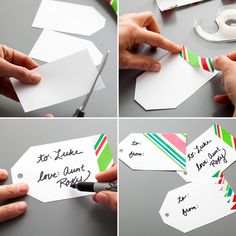 Repurpose Christmas wrapping paper to make colorful gift tags to use throughout 2016.