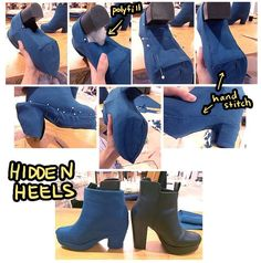 Hidden Heels -- I think it would work a bit better to shape a piece of foam or something to fill the space so you're not stuck trying to sew onto something so insubstantial as polyfil. Cosplay Outfits, Cosplay Costumes, Cosplay Wigs, Halloween Cosplay, Cosplay Ideas, 2017 Cosplay, Anime Cosplay, Raven Cosplay Diy, Cosplay Makeup