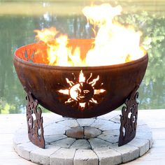 """Solar Flare 37"""" Hand Crafted Steel Fire Pit   WoodlandDirect.com: Outdoor Room - Outdoor Fireplaces, Fire Pit - Wood Burning, Fire Pit - Custom"""