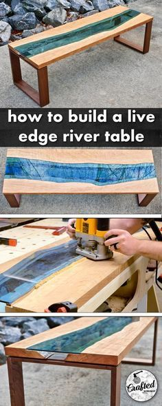 woodworking project, I'll show you how to build a live edge river table as made famous by Greg Klassen. These beautiful tables feature a center glass section that flows along the live edge, giving the glass the look of a flowing river. Let's get started! Woodworking Tools List, Woodworking For Kids, Easy Woodworking Projects, Popular Woodworking, Woodworking Furniture, Furniture Plans, Woodworking Magazines, Wood Furniture, Woodworking Machinery